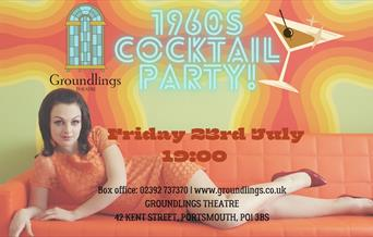 Poster for 1960s Cocktail Night at Groundlings Theatre