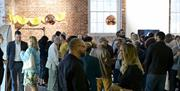 People gathered for networking at Aspex Gallery