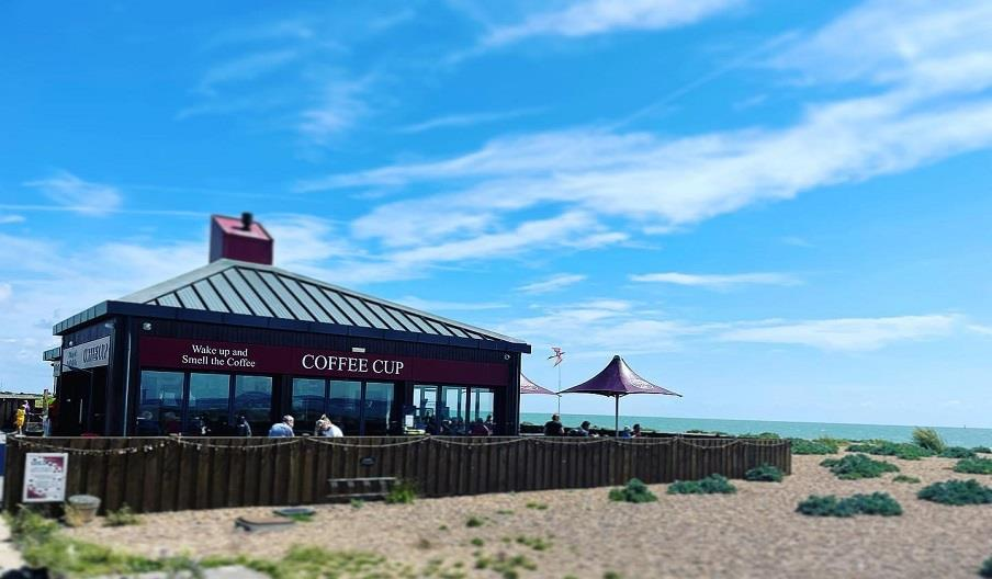 Outside seating at Coffee Cup Eastney