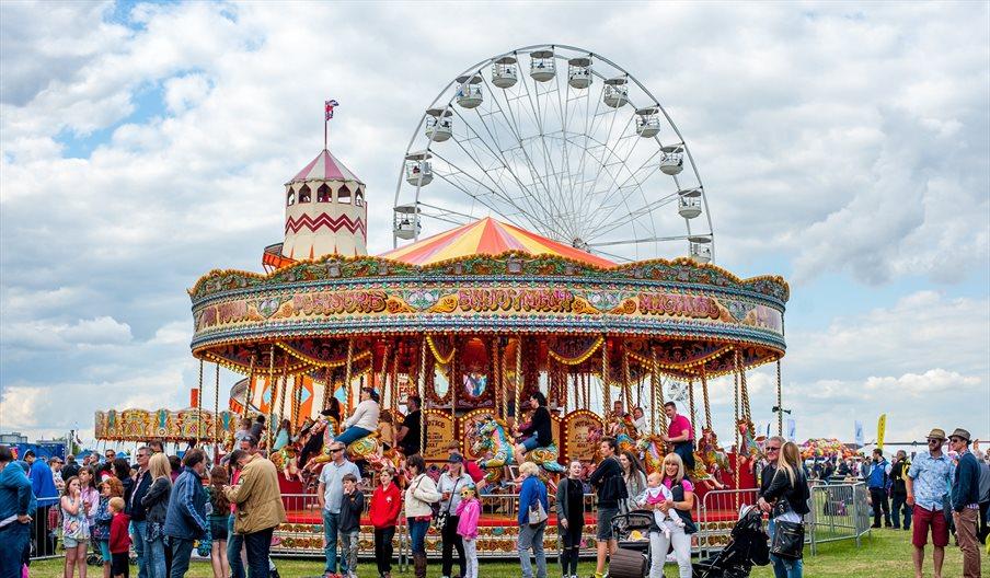 Victorian Fun Fair carousel and ferris wheel
