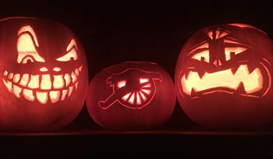 Spooky themed pumpkins at Fort Nelson
