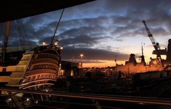 View of HMS Victory from Mary Rose Balcony