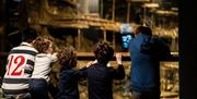 Children admiring the view of the Mary Rose