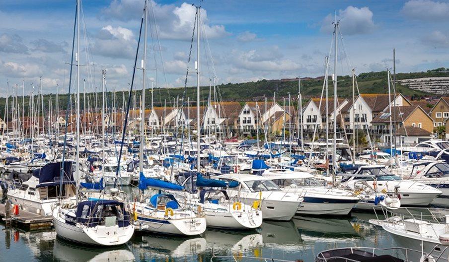 Boats on the harbourside at Port Solent