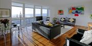 Living area of Superior 3 apartment with stunning views