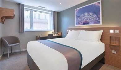 Double bed at the Travelodge Portsmouth City Centre