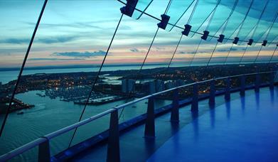 Dusk vista from View Deck 1 at Spinnaker Tower
