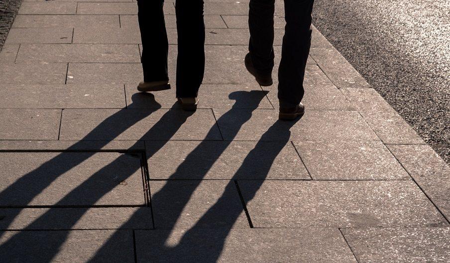 Stock image of people walking