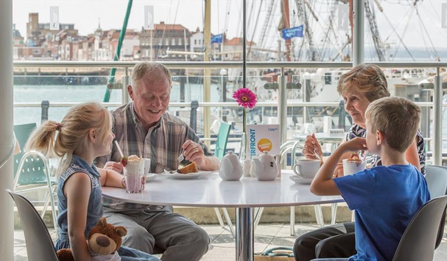Family dining at the Waterfront Cafe
