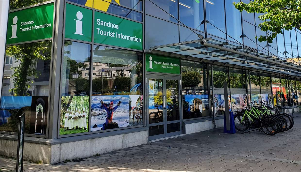 The tourist information is located at the central bus and  train station in Sandnes.