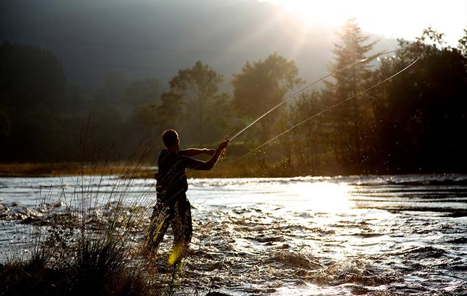 A person fishing in Suldalslågen.