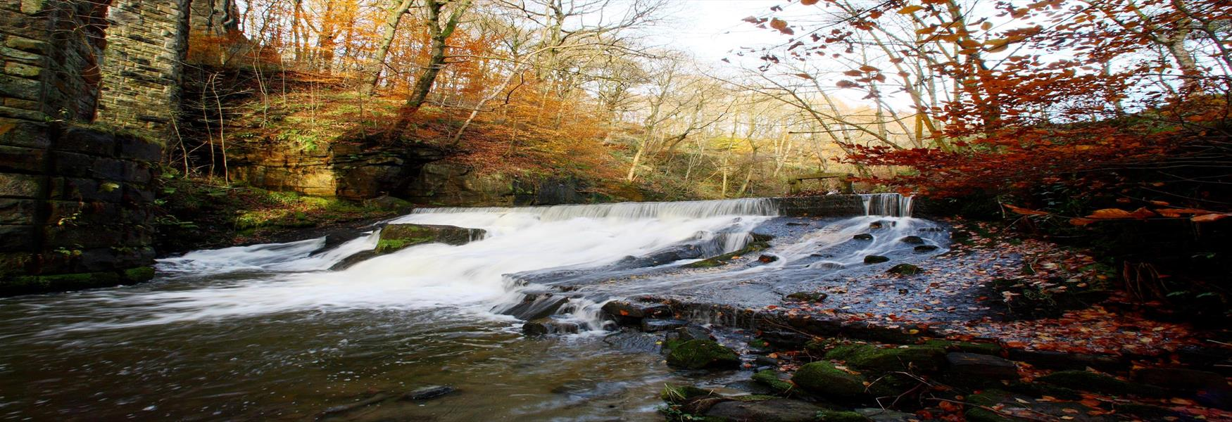 A weir with rushing water at Healey Dell.