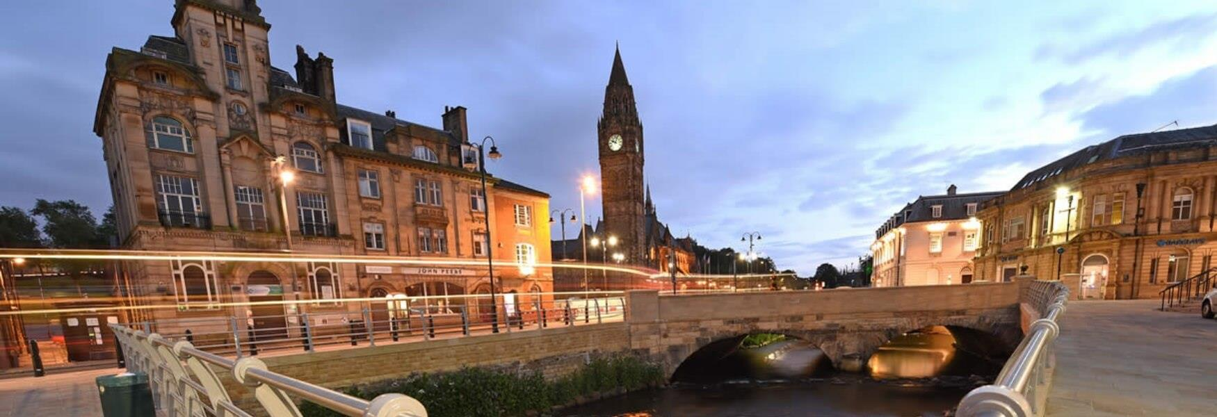 Rochdale town centre at night.