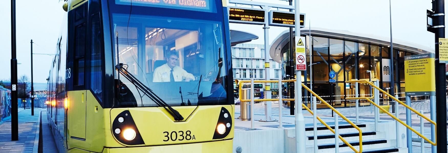 A Metrolink tram in front of Rochdale Interchange.
