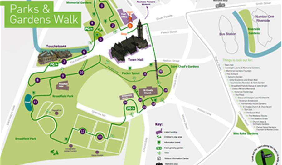 Parks and garden walks in Rochdale Town Centre