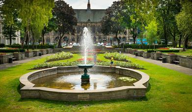 The fountain in Rochdale Memorial Gardens.