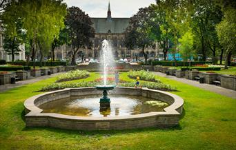 The fountain in Rochdale Memorial Gardens.