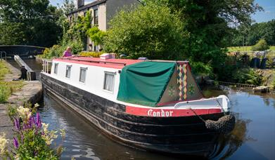 Narrow boat on the Rochdale Canal.
