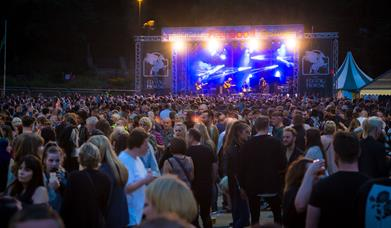 Crowd gathered at Rochdale Feel Good Festival main stage.