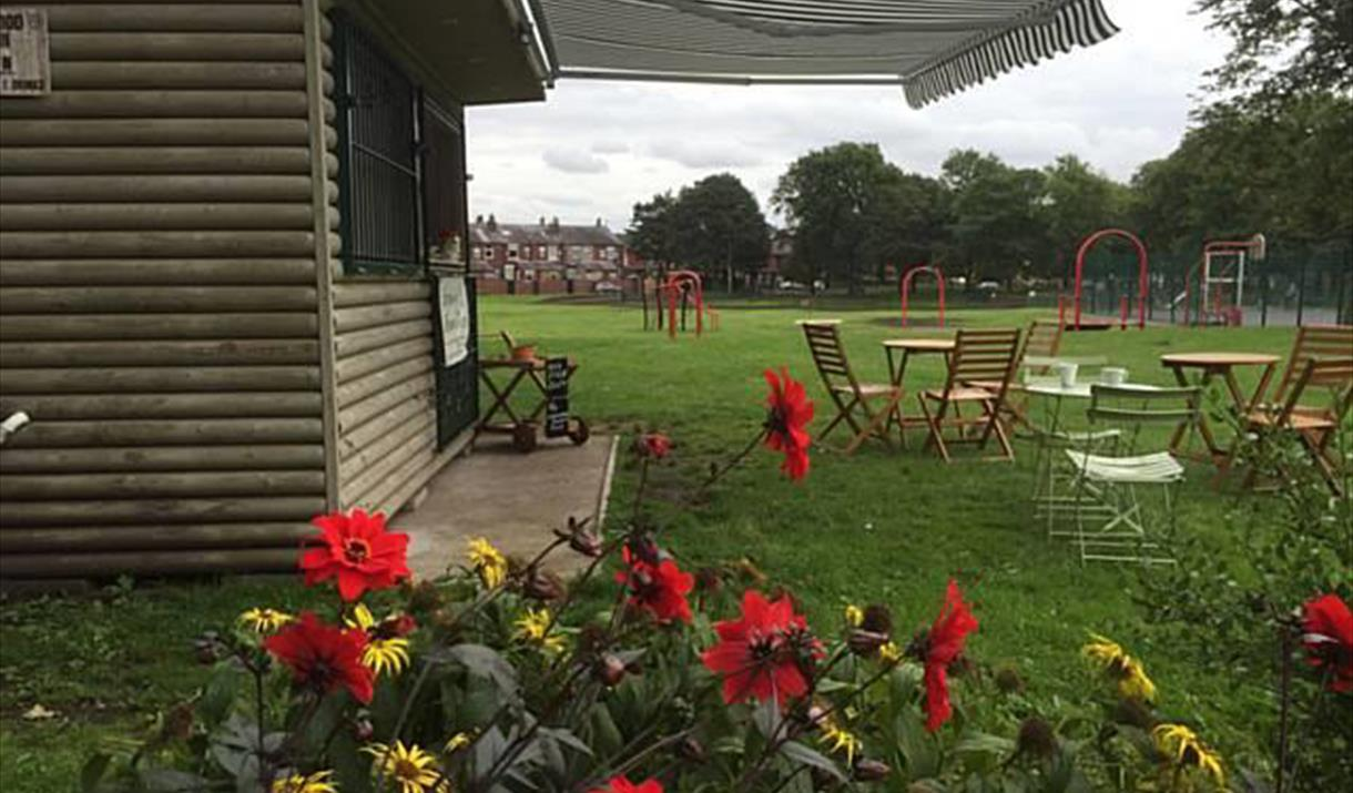 Chairs and tables set out at Hopwood Park.