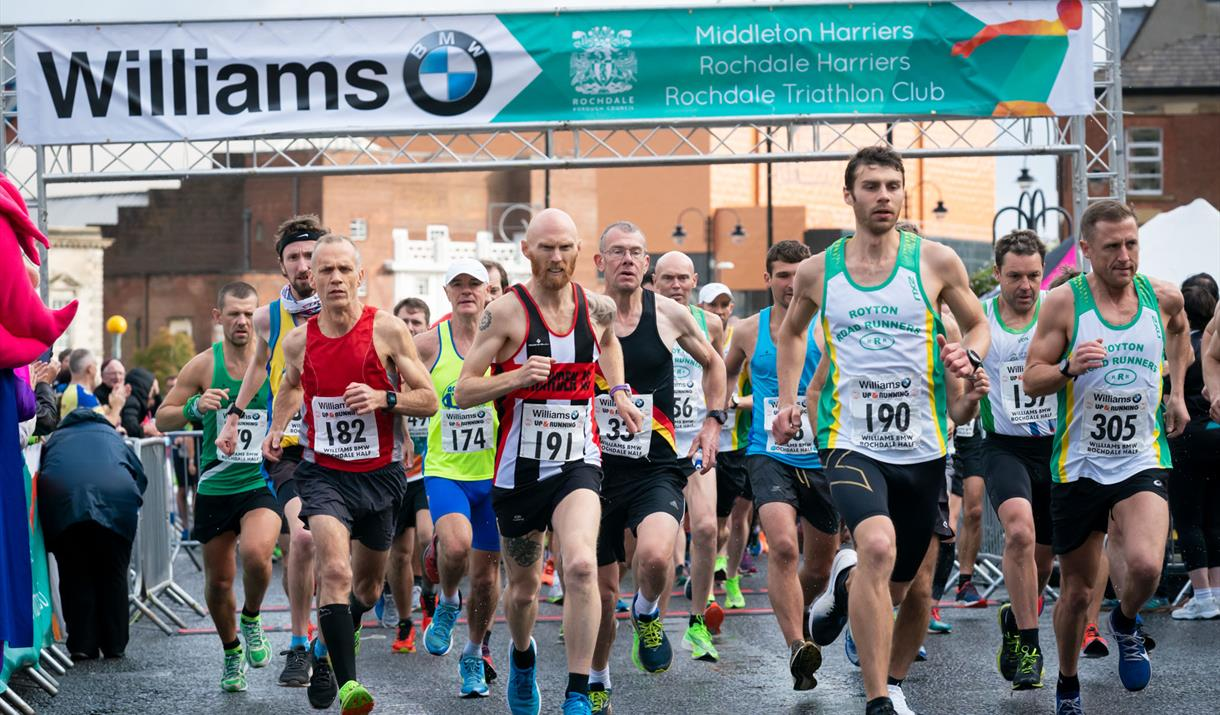 Runners starting in the 2019 Williams BMW Rochdale Half Marathon.