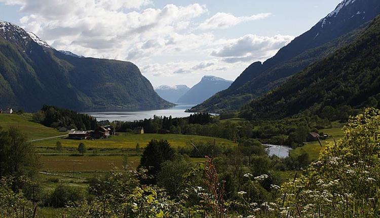 Usyn mot den inste delen av Sognefjorden, Skjolden, Luster Kommune.