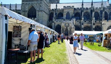 Exeter Craft Festival stalls on the Cathedral Green