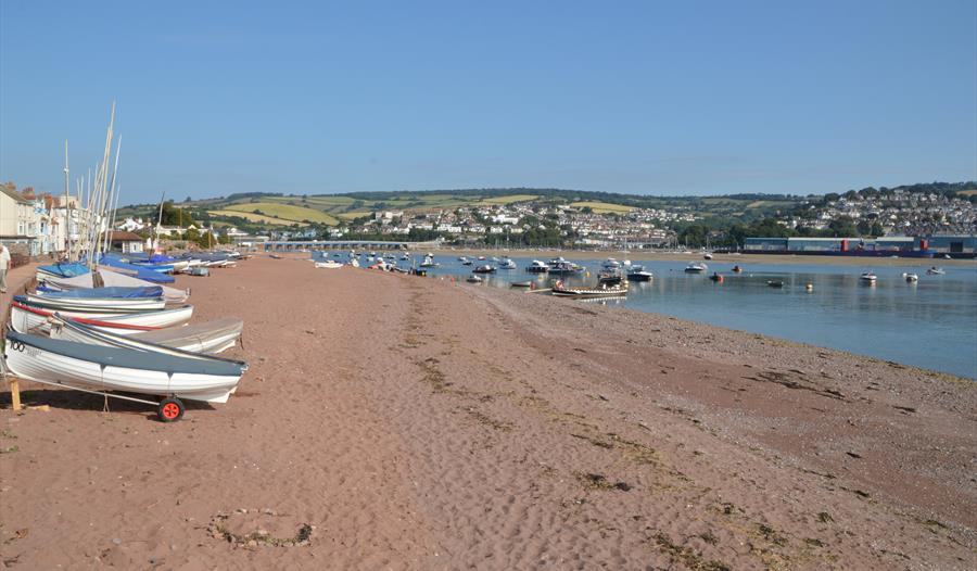 Shaldon Beach with boats on it