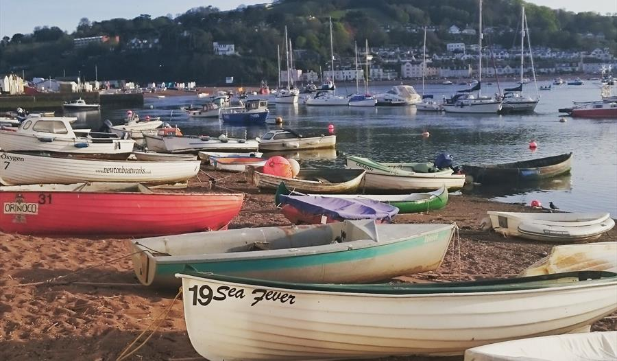 Teignmouth River Beach with boats