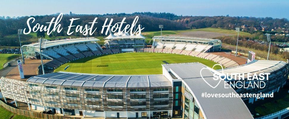 The unique hotel is found at the home of Hampshire cricket, overlooking the cricket ground, offering a four star stay with spa and great food.  Easy access to the M27 and all of the fantastic places to visit in Hampshire