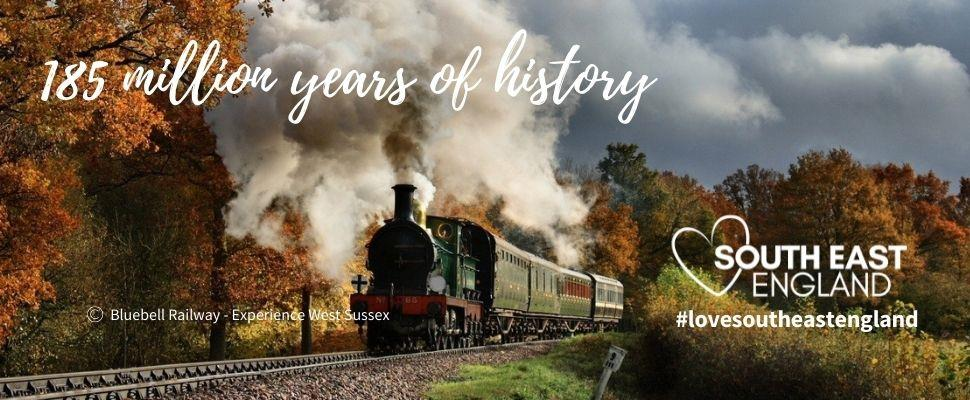 Bluebell Railway heading through the beautiful autumnal East and West Sussex countryside - credit Experience West Sussex