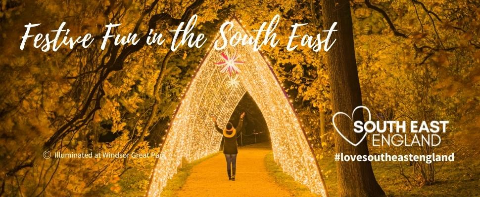 New festive illuminations trail at Windsor Great Park, Berkshire.  Light up your life this Christmas.  Discover  the South East full of festive fun for all the family.