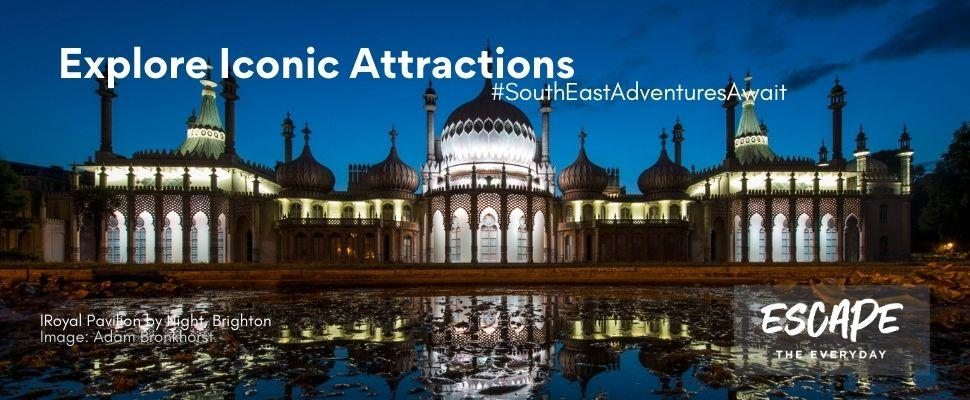 Discover Iconic Attractions across South East England - Royal Pavilon, Brighton by night