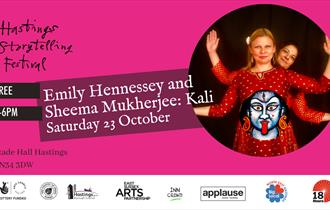 a pink poster featuring circular photograph to the right, with woman in red dress with woman behind extending arms, like a Hindu god. Text reads Hasti