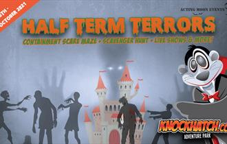 a poster with halloween zombie graphics that says Half term terrors