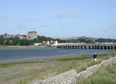 Coastal Path along the River Adur overlooking Lancing College Chapel