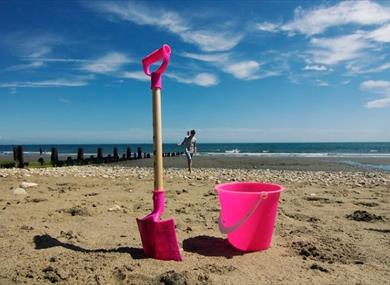 Bucket and spade on Shanklln beach, Things to Do, Isle of Wight