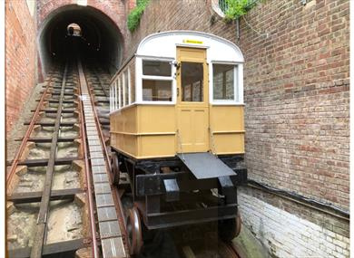 Picture of the Victorian coaches still used today on West Hill Cliff Railway, Hastings