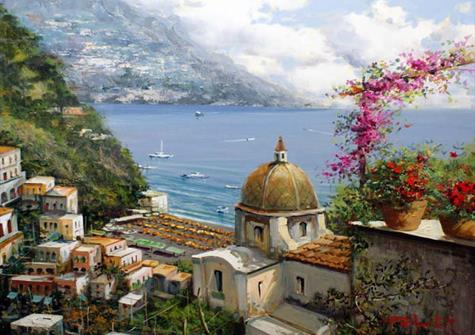 Watercolour painting of the Amalfi coast with lots of stone buildings in the foreground and the sea and sky behind
