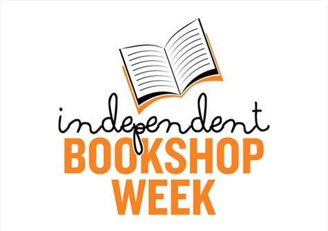 line drawing of a book with independent bookshop week written underneath in black and then orange text