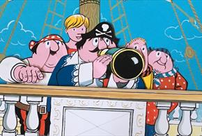 Animation for BBC TV. Left to right: the Mate, Tom the Cabin Boy, Captain Pugwash, Pirates Barnabus and Willy. Copyright Estate of John Ryan.