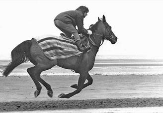 Photo. Red Rum training by Liverpool Echo.