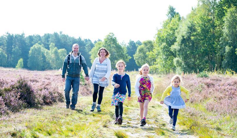 Cannock Chase family walking on heather heathland.