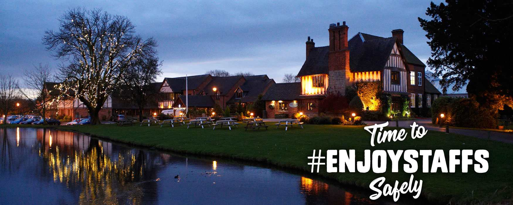 Exterior of The Moat House hotel, Acton Trussell, Staffordshire at dusk. #EnjoyStaffsSafely