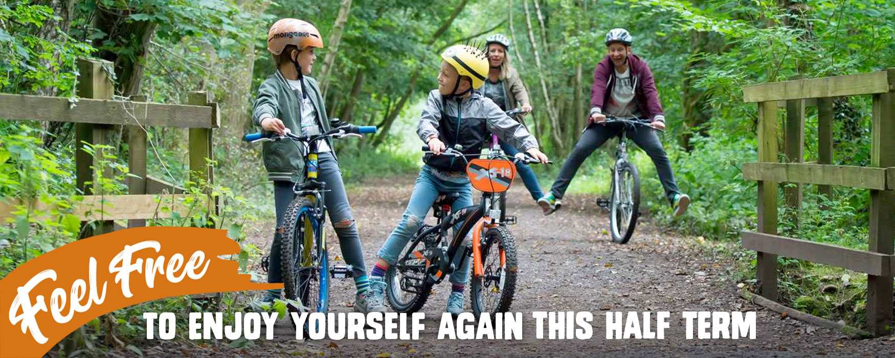 Family cycling in the Churnet Valley, Staffordshire