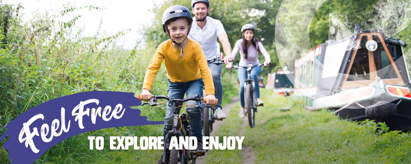 Feel Free to explore and enjoy yourself in Staffordshire. Family cycling along rural canal towpath. Trent & Mersey Canal near Great Haywood.