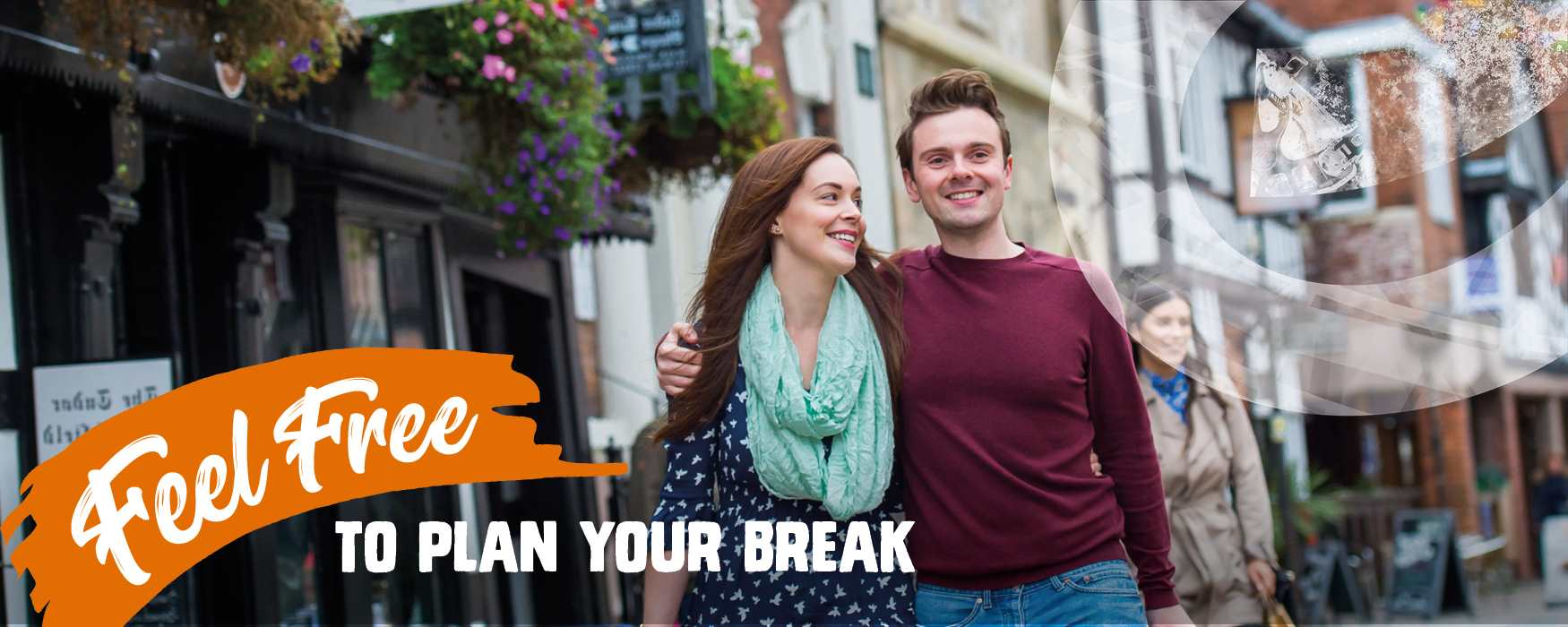 Feel Free to plan your short break in Staffordshire. Couple shopping in Lichfield historic city centre.