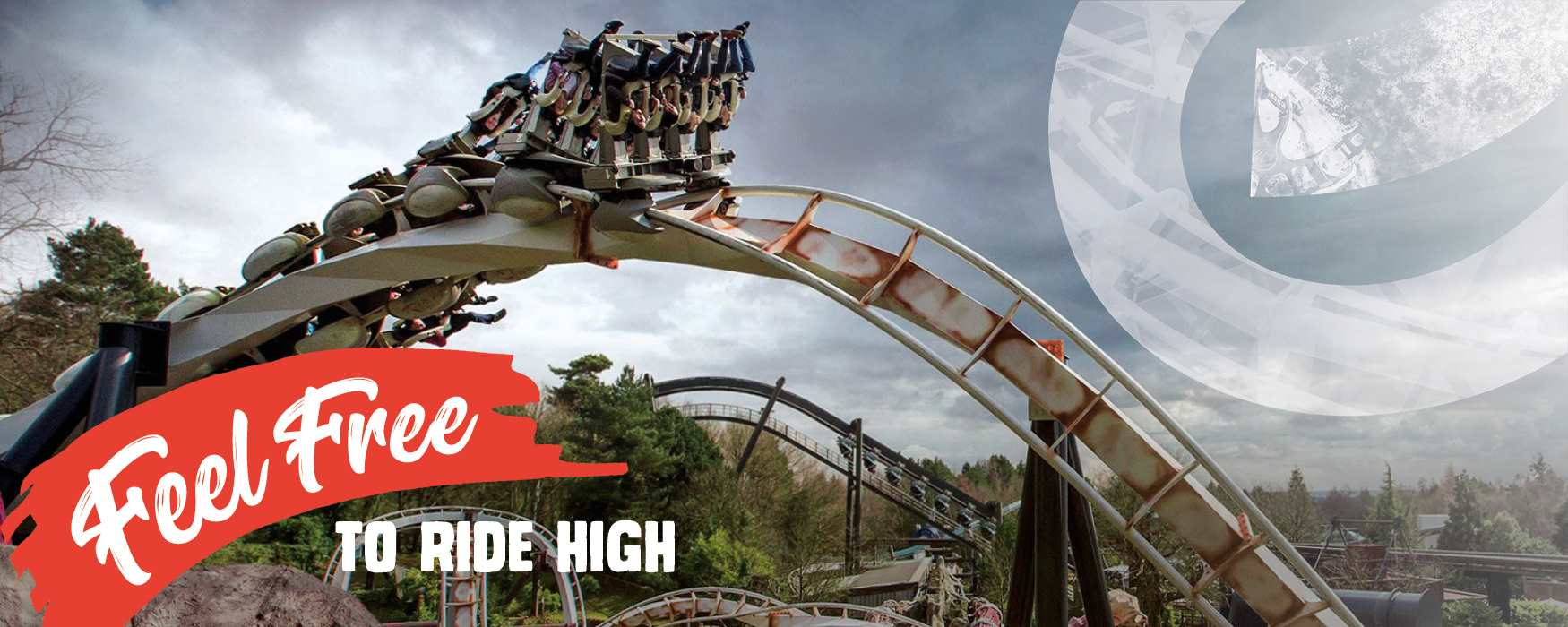 Feel Free to ride high in Staffordshire. Nemesis rollercoaster at Alton Towers theme park.
