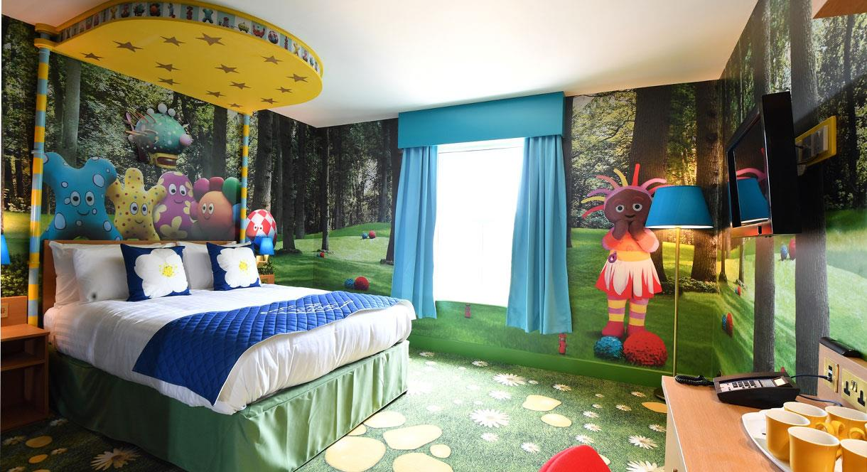 Choose from a range of spacious themed suites such as In the Night Garden Suite.