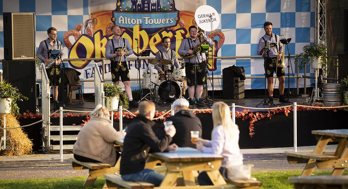 An oompah band entertains the crowd at Alton Towers
